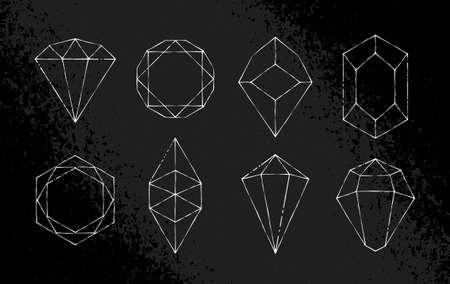 White hand-drawn crystal shapes. Line art. Symmetrical crystal icons on black grunge background. vector illustration.