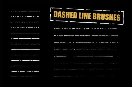 Dashed Line Brushes Vector Set. White hand-drawn lines on black background. vector graphic. Vectores
