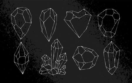 White hand-drawn crystal shapes. Line art. Asymmetric crystal icons on black grunge background. vector illustration.