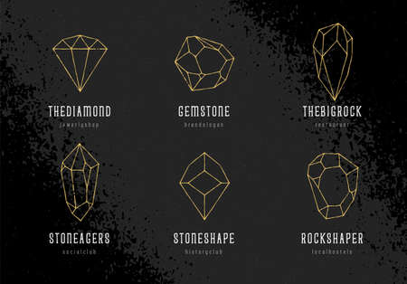 Gold hand-drawn crystal shapes with text. Line art crystal templates on black grunge background. vector illustration.