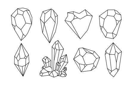 White hand-drawn crystal shapes. Line art. Asymmetric crystal icons on white background. vector illustration.