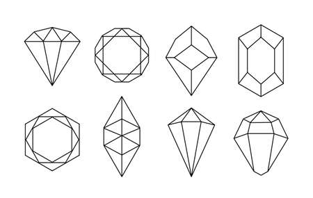 White hand-drawn crystal shapes. Line art. Symmetrical crystal icons on white background. vector illustration.