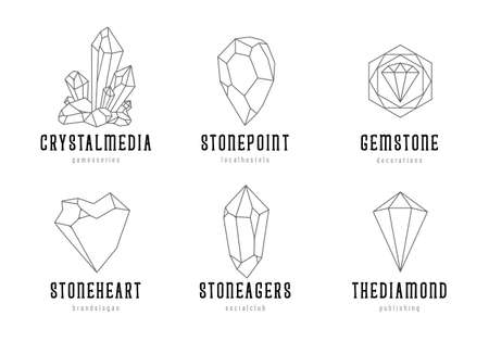 Hand-drawn crystal shapes with text. Line art crystal templates isolated on white background. vector illustration. Vectores