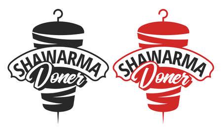 Vector emblem for shawarma cafe. Doner kebab template. vector illustration.