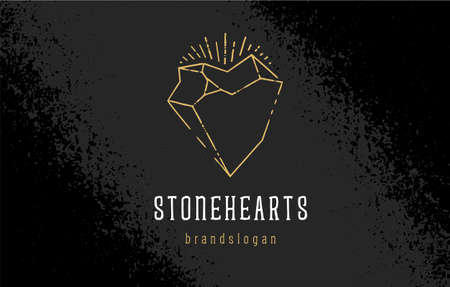 Stone Heart Vector Template. Line art heart icon with rough stone shapes and dirty lines. Asymmetric crystal icon on black grunge background. vector illustration.