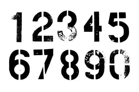 Set of grunge stencil numbers. Dirty painted nombers isolated. EPS10 vector graphic.