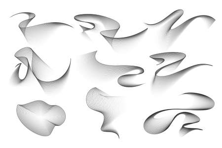 Blend waves set isolated on white. Abstract design elemens. Vector EPS10 illustrations.