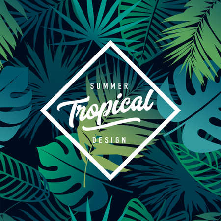 Modern geometric shape banner with lettering on tropical seamless pattern with fresh leaves. Tropical design template. Vector EPS10 illustration. Illustration