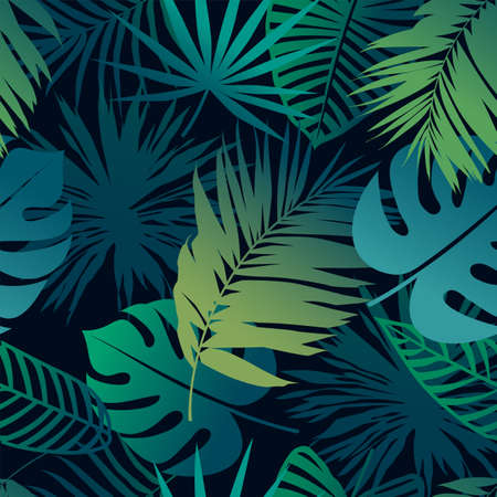 Seamless pattern with fresh tropical leaves. Jungle background. Vector EPS10 illustration. Illustration
