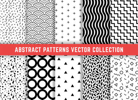 Set of geometric minimalistic seamless patterns. Simple patterns to fill the background. Vector collection. Vectores
