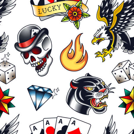 Traditional tattoo vector seamless pattern with popular old school elements