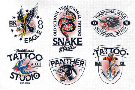 Set of vector traditional tattoo style emblems.