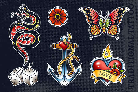 Set of most popular old school tattoo illustrations