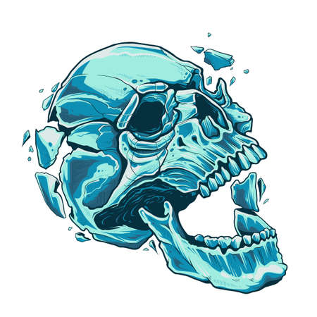 The skull with open moth explodes from within. Blue cracked skull on white background. Vector  illustration.