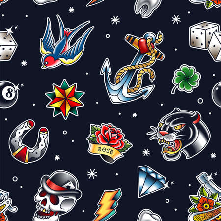 Traditional tattoo vector seamless pattern with popular old school elements: panther, skull, diamond, anchor, dice, rose, flash, razor and bird. Endless retro style pattern with bright colors on black.  vector illustration.