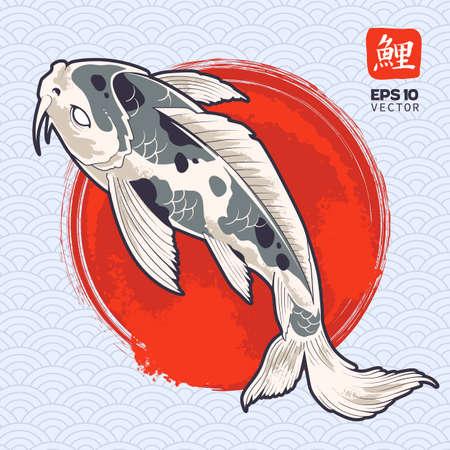 Vector art of koi fish on painted red circle. Japanese carp illustration. Oriental symbolic fish. Vector  graphic. Illustration