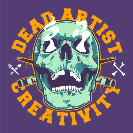 Grunge Style Print With Artist Skull. Skull with open mouth and smoking eyes. Two crossed brushes behind. Bold typography in circle shape. Vector art. Illustration