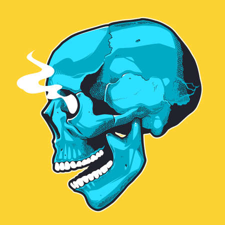 Pop Art Style Skull With Smoking Eyes. Side view blue skull on yellow background. Vector print design. Illustration