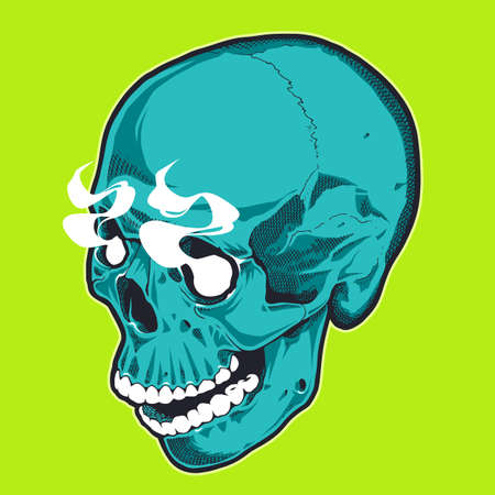 Pop Art Style Skull With Smoking Eyes. Turquoise skull on green background. Vector print design.