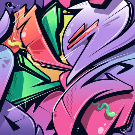Wild Style Graffiti Seamless Pattern. Juicy vibrant colors and dynamic shapes of classic New York City wild style graffiti in vector seamless pattern. Great for hip-hop designs, backgrounds and fills.