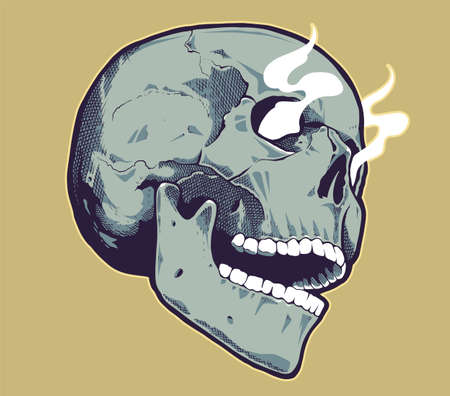 Pop Art Style Skull With Smoking Eyes. Green skull on yellow background. Vector print design.