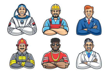 Cartoon style smiling men with crossed hands. Different profession characters: astronaut, builder, businessman, fireman, rapper and doctor. Vector icon set.