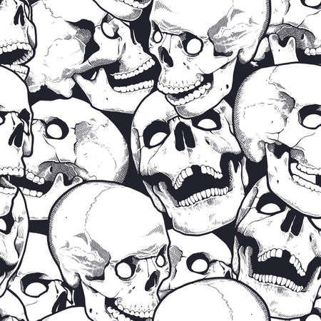 Monochrome Seamless Pattern With Engraving Skulls. Vector  graphic. Illustration