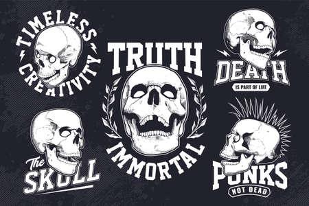 Set of vintage monochrome emblems with engraving style skulls on dark background. T-shirt print design templates. Illustration