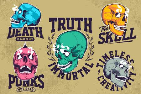 Set of grunge emblems with pop art skulls with smoking eyes. T-shirt print design templates.