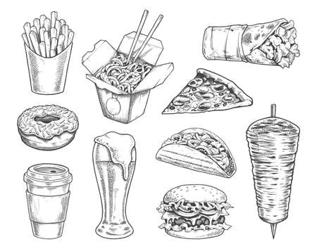 Street Food Retro Illustrations Vector Set. Black and white engraving style icons of burger, pizza, taco, french fries, shawarma, donut, coffee paper cup, glass of beer, kebab spit and wok noodle. EPS10 vector illustration. Vector Illustration