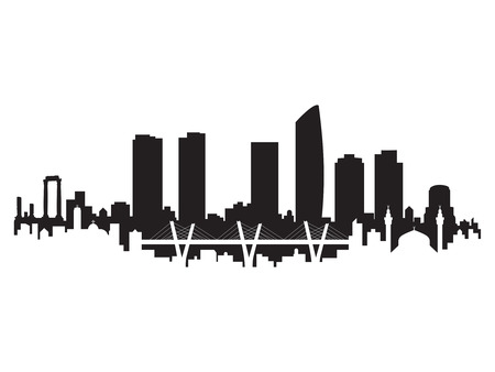 Amman Skyline Silhouette City Vector Design Art Çizim