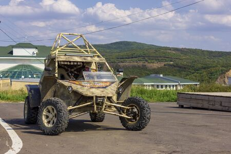 Gudermes, Russia. 11 august, 2019. GUDERMES, CHECHEN REPUBLIC, RUSSIA - august 11, 2019: Presenting a new Chaborz M-3 military buggy, at the Russian Special Forces University.