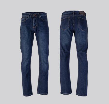 Hombres jeans azul aislado sobre fondo blanco, vista frontal y posterior Foto de archivo