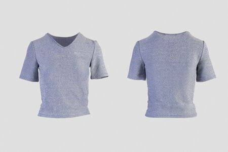 glittering v neck shirt female t-shirt Isolated on white background front and back rear view on invisible mannequin