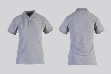 gray womens blank polo shirt, front and back view isolated on white on invisible mannequin