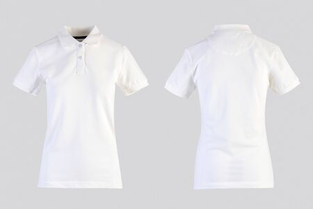 White womens blank polo shirt, front and back view isolated on white on invisible mannequin