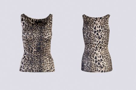 Womens animal print tank top Isolated on white background front and back rear view on invisible mannequin