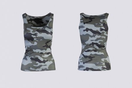 Women's camo tank top Isolated on white background front and back rear view on invisible mannequin