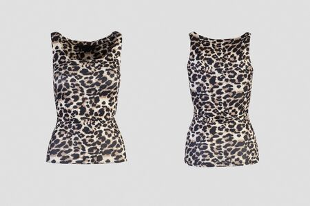 Women's animal print tank top Isolated on white background front and back rear view on invisible mannequin Stock Photo