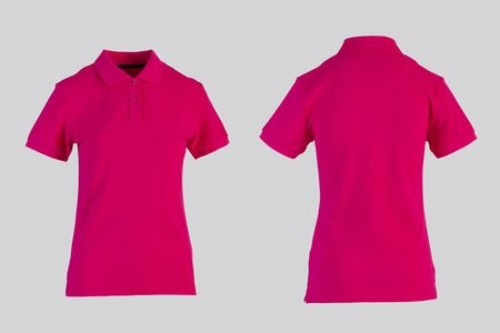 light red womens blank polo shirt, front and back view isolated on white on invisible mannequin
