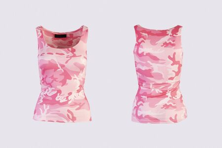 Women's pink camo tank top Isolated on white background front and back rear view on invisible mannequin