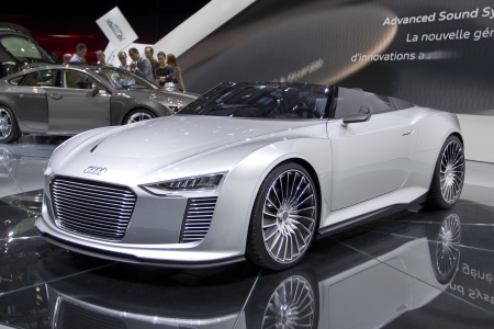 elite: Paris Motor Show 2010 in Paris, showing Audi e-tron Spyder Editorial