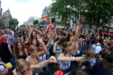 bisexual: PARIS, FRANCE - June 25. Peoples took part in the Paris Gay Pride parade to support the LGBTs(lesbian, gay, bisexual, and transgender) rights, on June 25, 2011 in Paris, France.
