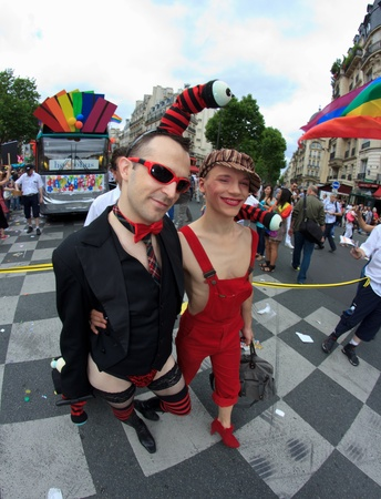 PARIS, FRANCE - June 25. Peoples took part in the Paris Gay Pride parade to support the LGBTs(lesbian, gay, bisexual, and transgender) rights, on June 25, 2011 in Paris, France.