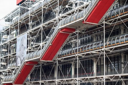 georges: The facade of Pompidou center in Paris, France  Editorial