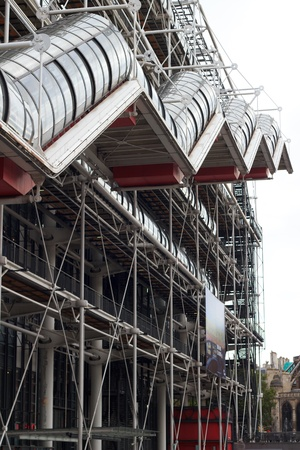 The facade of Pompidou center in Paris, France