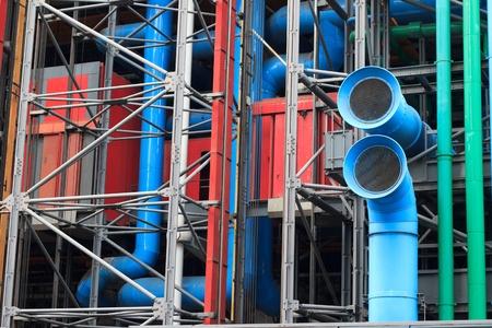 The facade of Pompidou center in Paris, France