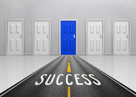success road with closed doors sign which symbol success concept