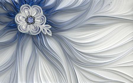 3d wallpaper decoration Abstract fractal fantastic flower Imagens