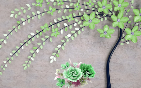 abstract 3d wallpaper floral background with green flowers and golden butterfly 写真素材